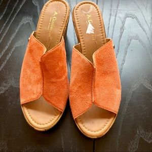 A. Giannetti Orange Suede Slide On Wedges, Sandals
